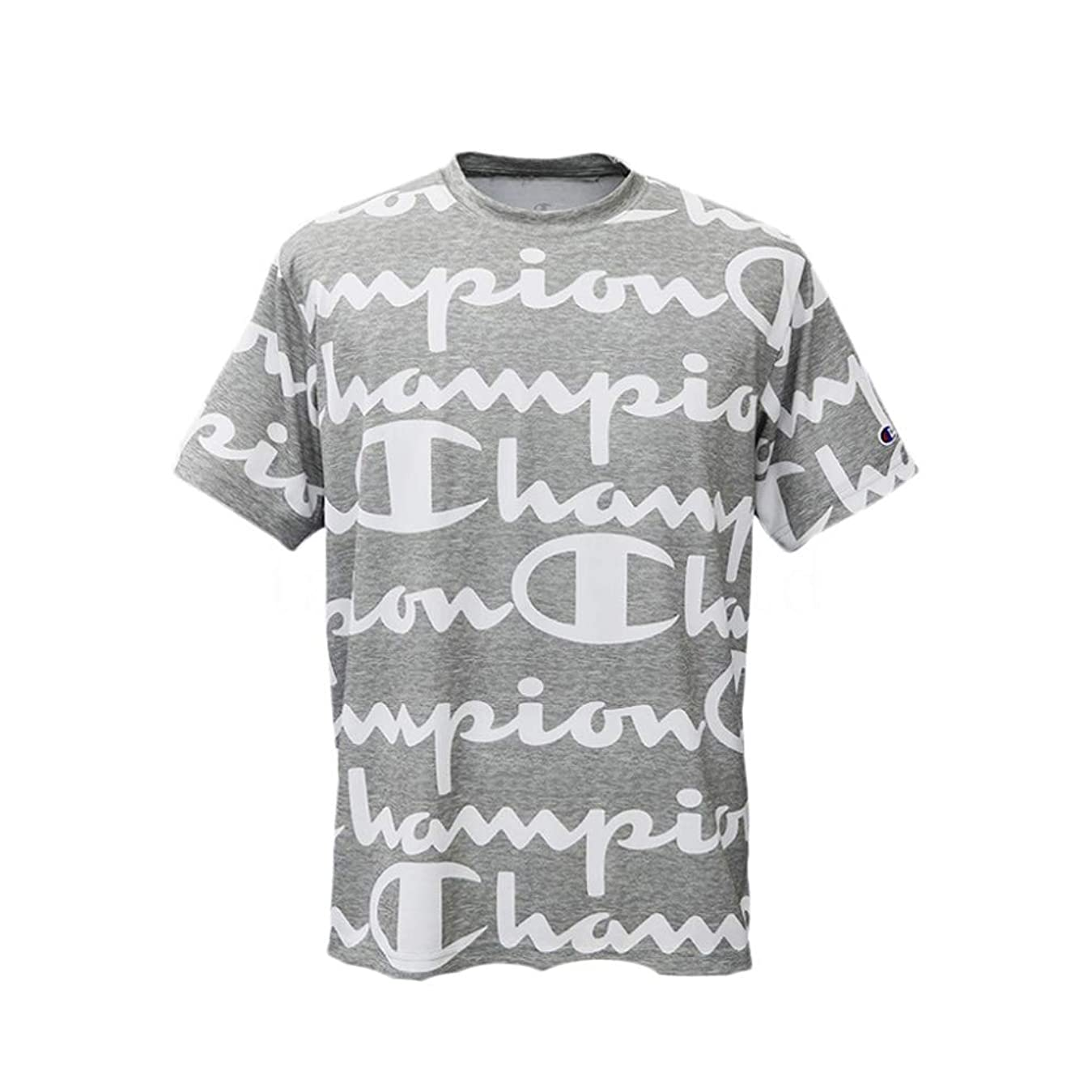親ハシーキャッチチャンピオン Tシャツ メンズ 上 Champion C-VAPOR 総柄 ビッグロゴ 速乾 防臭 ドライ