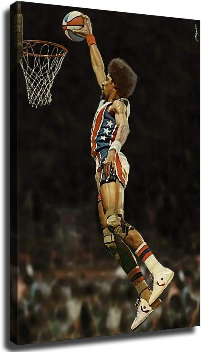 Dr J Julius Courier shipping free Erving Dunk Poster Sale Silk Framed-Re Basketball Sports