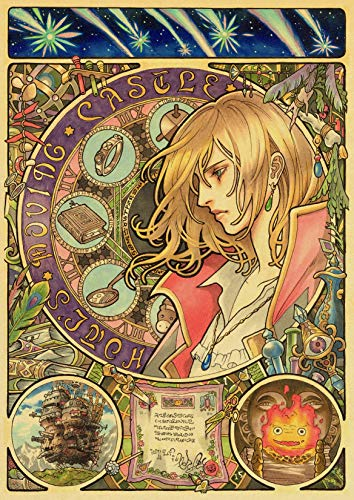 H/L Howl's Moving Castle Poster Hayao Miyazaki Zeichentrickfilm Retro Poster Home Decor Wandbild Rahmenlos 50X60Cm K4259