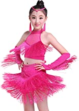 Happy Cherry Girls Stretchy Dance Outfits Latin Salsa Ballroom Costumes, 4-13Y