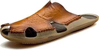 laoonl Sandalias de hombre, Sandalias de cuero, Sandalias de punta cerrada, Zapatos transpirables, Sandalias romanas, desl...