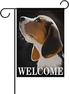 Beagle Puppy Dog Welcome Garden Flag 12 X 18 Inches, Double Sided Outdoor Yard Yall Garden Flag for Wedding Party House Home Decor