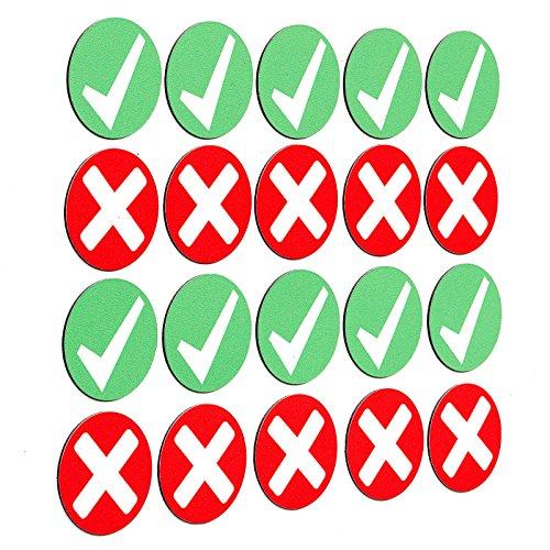 SMILEYBOARD - Bunte Haken-Magnete - 20 Stück - 3 cm Durchmesser - Farben: grün - rot - Kreuze: richtig - falsch