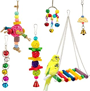 Mumoo Bear Large and Small Parrot Toy - Multicolored Wooden Blocks Tearing Toys for Birds