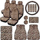 19 Pieces Leopard Print Car Accessories Cover Including Leopard Seat Cover Steering Wheel Cover Seat Belt Pads Car Floor Mats Car Coasters Armrest Pad for Car Decoration and Protection