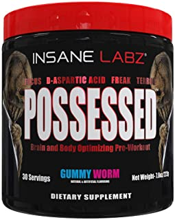 Insane Labz Possessed Low Stimulant Testosterone Boosting Pre Workout Powder, Loaded with D Aspartic Acid and Creatine Fue...