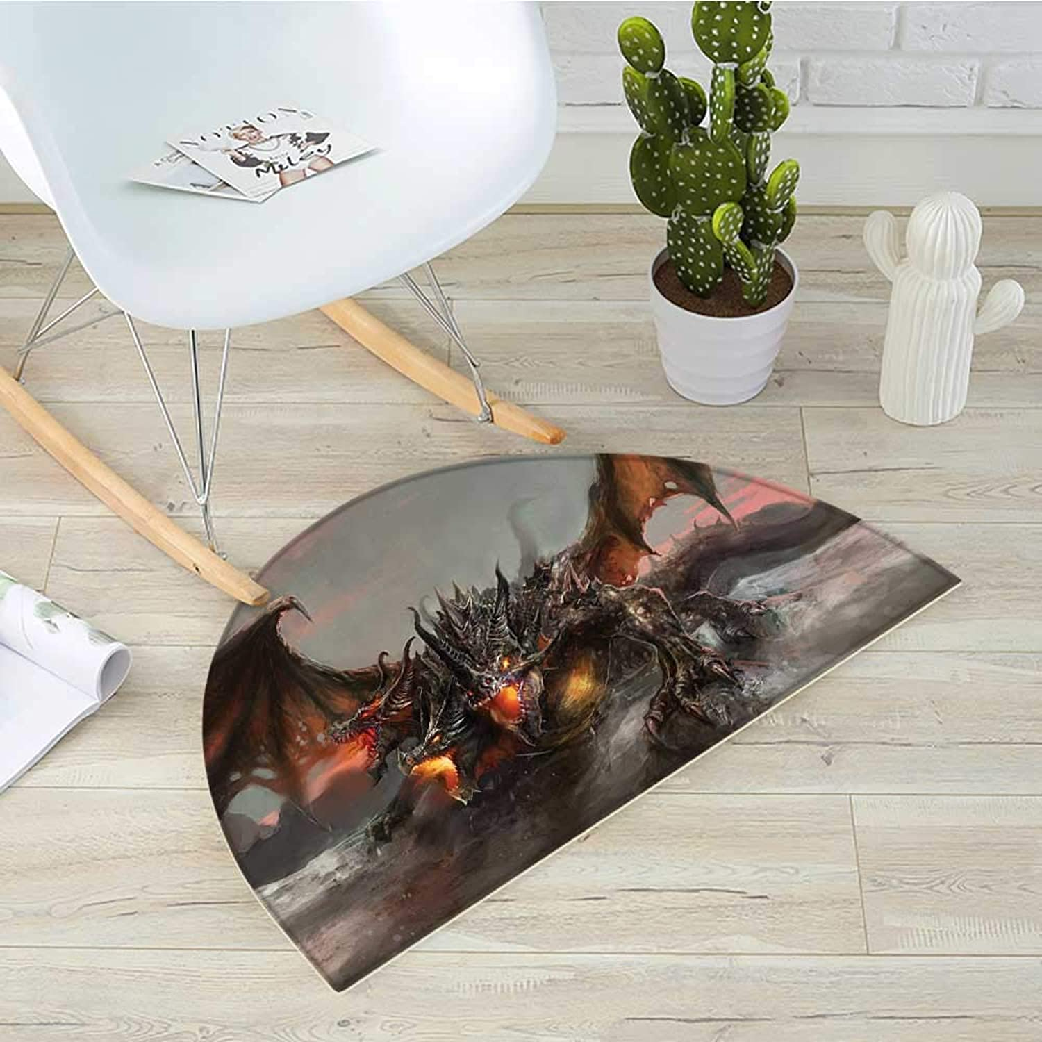 Fantasy World Semicircular CushionIllustration of Three Headed Fire Breathing Dragon Large Monster Gothic Theme Entry Door Mat H 43.3  xD 64.9  Brown Grey