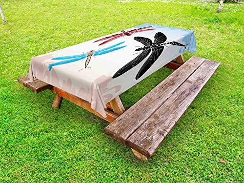 ABAKUHAUS Libelle Outdoor-Tischdecke, Exotic Animal Flügel, dekorative waschbare Picknick-Tischdecke, 145 x 305 cm, Schwarz, Blau, Hellrosa