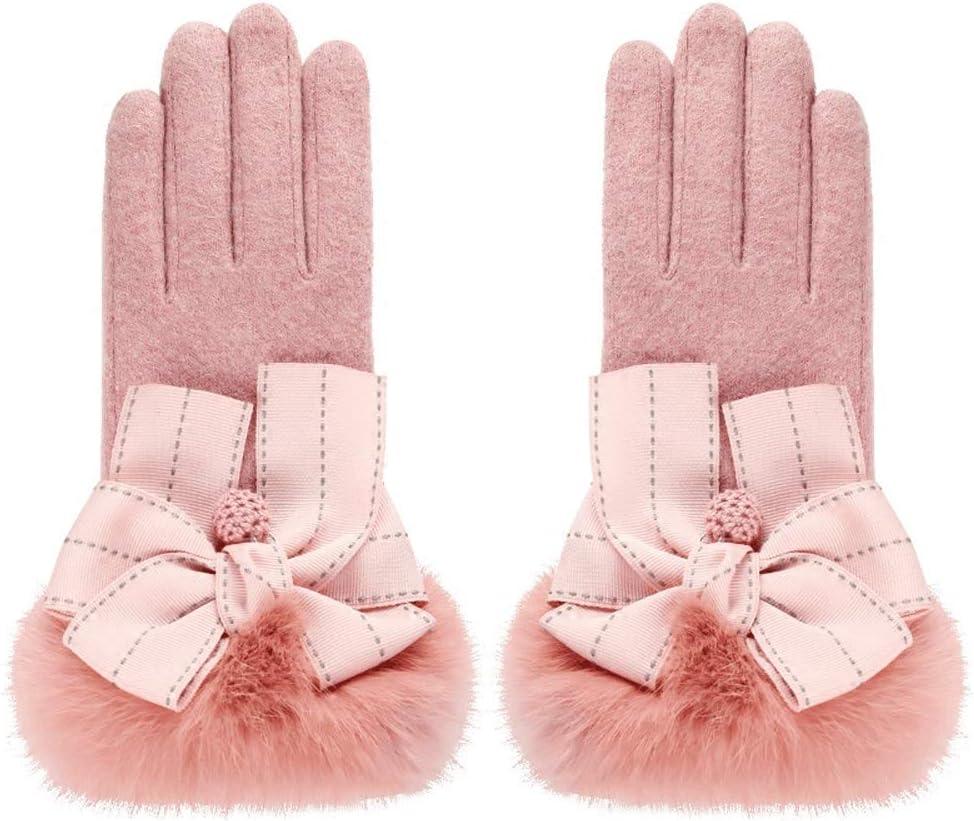 Leouy Women's Elegant Wool Gloves Winter Plus Velvet Thick Rabbit Fur Gloves Women's Driving Cycling Non-Slip Windproof Mitten Fashion Plush Gloves Touchscreen Winter Mitten