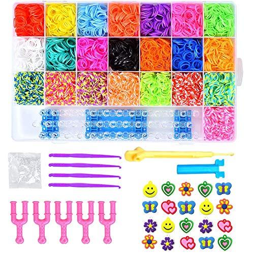 6800PCS DIY Bandas de Goma Loom Bandas Conjunto, Kit de Pulseras con Bandas de Telar Pulsera Collar Herramienta de Tejer Bandas de Goma(22 Colores)
