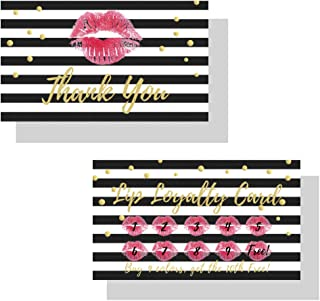 Lip Loyalty LipSense by SeneGence Cards | 50 Pack | Buy 9 get the 10th one free! | Matches How To Apply Tips and Tricks Cards | Red Lips Gold Dot Pattern Design