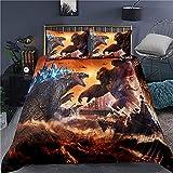 LIYIMING King Kong vs Godzilla - Juego de ropa de cama 3D con impresión digital Godzilla vs Kong, funda de edredón y funda de almohada, 100% microfibra (03,135 x 200 cm + 50 x 75 cm x 2)