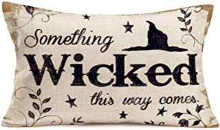 Smilyard Vintage Halloween Pillow Covers Quote Something Wicked This Way Comes Pillow Case Cushion Cover Cotton LinenWitch HatRectangle Pillowcase for Home Couch Bedroom 12x20 Inch (W-Wicked)