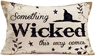 "Fukeen Happy Halloween Pillow Cover Cases Horrific Saying with Witch Hat Leaves Star Decorative Pillow Cases Cotton Linen Festival Home Sofa Couch Decor Rectangle Cushion Cover 12""x20"""