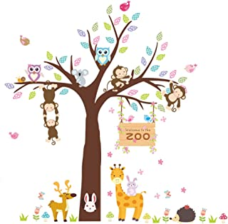 ElecMotive Forest Animal Giraffe Monkey Owls Hedgehog Rabbit Tree Nursery Wall Stickers Wall Murals DIY Posters Vinyl Removable Art Wall Decals for Kids Girls Room Decoration (Zoo)