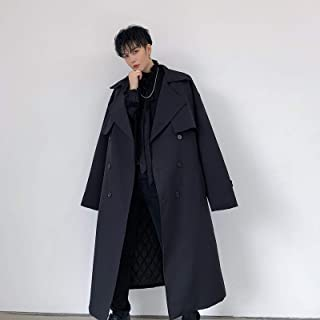 Windbreaker Double-Breasted Coat Mid-length Plus Cotton Lapel Coat High Quality (Color : Black)