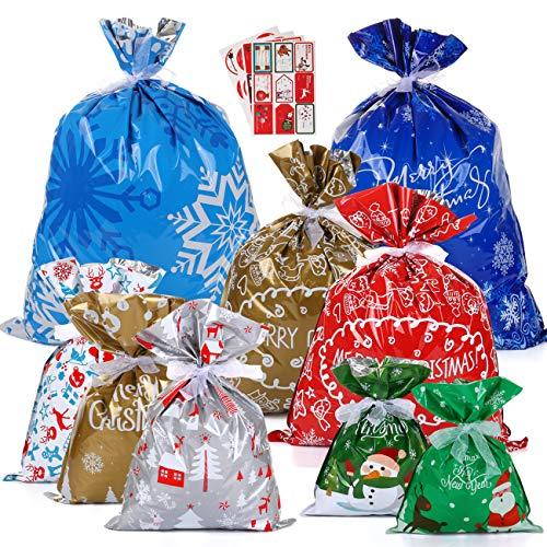 LIHAO 24 Bolsas de Regalo de Navidad Bolsas de Envoltura Regalos de Navidad con Cintas y Pegatinas (Tamaño Mixto)