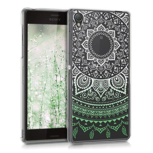 kwmobile Case kompatibel mit Sony Xperia Z3 - Hülle Handy - Handyhülle - Indische Sonne Mintgrün Weiß Transparent