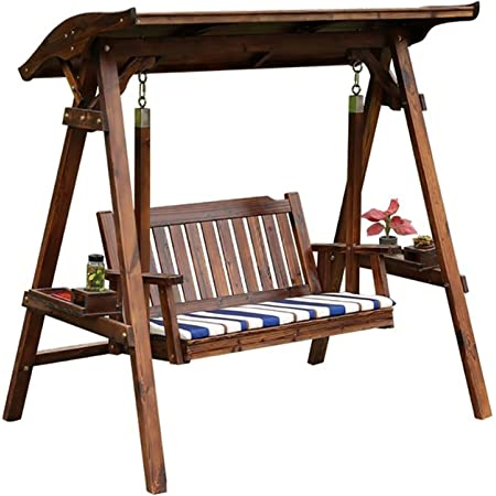 WANYI 67 Inch Outdoor Log Swing Stand Porch Swing Set Wood Bench Swing Stand A-Frame Patio Furniture Swing Chair Rustic Curved Garden Swing Yard Play