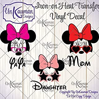 8e0f0e28 Disney Inspired Personalized Minnie Mouse Grandma, Mom, Daughter Iron On  Vinyl Decal for Clothing