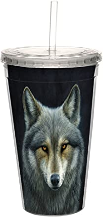 Tree-Free Greetings CC98924 Cool Cups, Double-Walled Pba Free with Straw and Lid Travel Insulated Tumbler, 16 Ounces, Look Into My Eyes
