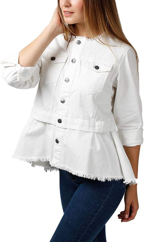 Central Park West  Women's Chupapink Collarless Peplum Denim Jacket  White