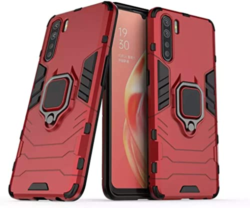 Mobyro D5 Tough Hybrid Armor Bumper Back Case Cover For Oppo F15 Magnetic Ring Holder Kickstand In Built Excellent 360 Degree Protection RED
