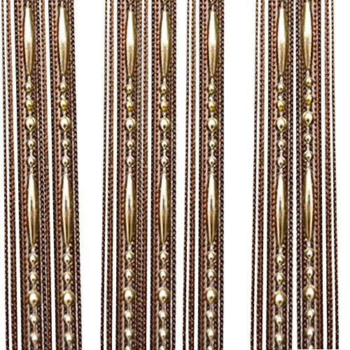 Nvfshreu Perlen Fadenvorhang Kette Wandvorhang Balkonvorhang Türvorhang Fliegenschutz Fadengardine Raumteiler Mit Einfacher Stil Kristallquaste 100X200Cm Beige (Color : Khaki, Size : Size)