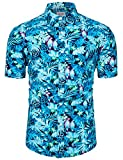 TUNEVUSE Mens Bird Print Shirt Short Sleeve Casual Parrot Print Blue Hawaiian Button Down Shirts Cotton Small