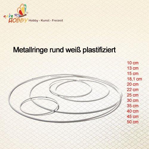Metallring rund weiß plastifiziert (50 cm), 5 Stück