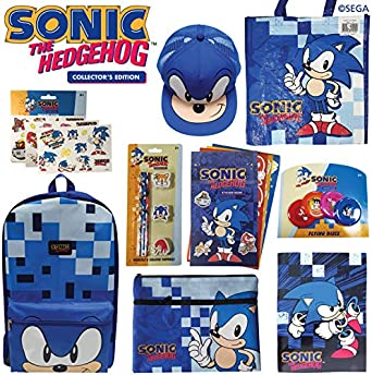 Sonic The Hedgehog Showbag Gift Pack with Backpack Cap Tattoos Stickers and Toys Show Bag for Kids Birthday Christmas Easter Fantastic Gift Idea Collection Boys