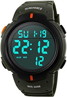 Mens Digital Sports Watch LED Screen Large Face Military Waterproof Casual Luminous Stopwatch Alarm Simple Army Watch
