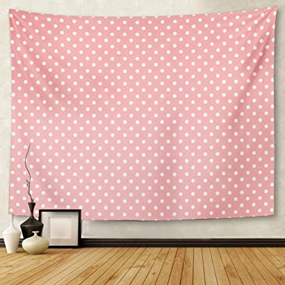Tapestry Pink Girly Pattern Polka Dot Trend Pastel Abstract Baby Home Decor Wall Hanging for Living Room Bedroom Dorm 50x60 Inches