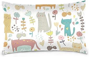Mydaily Cute Cartoon Kitten Flower Throw Pillow Case Cotton Velvet Rectangular Cushion Cover 20x26 inch
