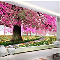 Xbwy 装飾壁画モダンな壁紙暖かくロマンチックな花の木と鹿のリビングルームの壁紙ソファ背景-250X175Cm
