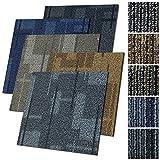 Design Teppichfliesen Andorra 50x50 cm selbstliegend - 1 m² Set - strapazierfähiger Teppich Bodenbelag mit hochwertigem Schlingenflor - antistatisch mit Bitumen Rücken (Beige, 4 Stück)