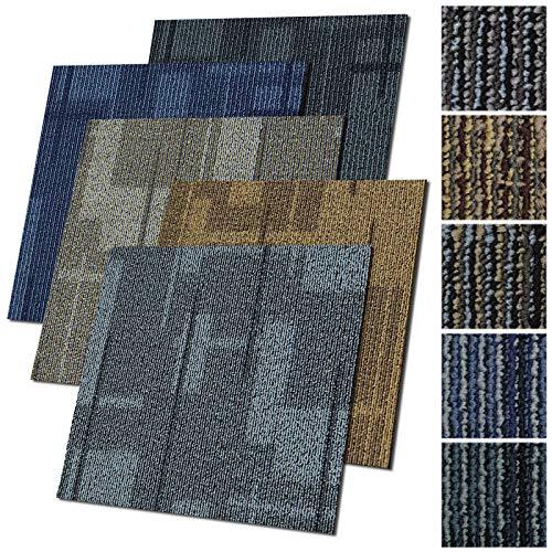 Design Teppichfliesen Andorra 50x50 cm selbstliegend - 1 m² Set - strapazierfähiger Teppich Bodenbelag mit hochwertigem Schlingenflor - antistatisch mit Bitumen Rücken (Blau, 4 Stück)