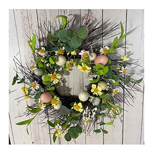 Easter Wreath With Colored Eggs Natural Plants Door Wall Holiday Decoration 15.75inch