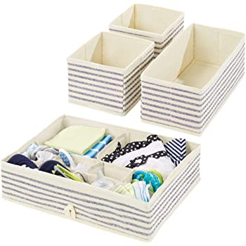 mDesign Juego de 4 Cajas organizadoras para Cuarto Infantil – Elegantes cestas de Tela para almacenaje en Diferentes tamaños – Organizadores para armarios de Fibra sintética Transpirable – Crudo/Azul: Amazon.es: Hogar