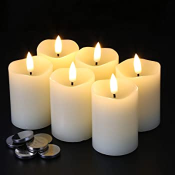 """Eywamage Flameless Pillar Candles D 2"""" H 3"""" Flickering Real Wax LED Votive Candles with Timer Battery Operated 6 Pack Ivory"""