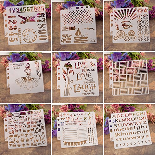 ECMQS 9 Unidades de Plantillas de Pintura para Manualidades, Lavable, Plantilla Hueca para Pintar de Carteles de Holzveranda, Uso en la Pared, plástico y Placas