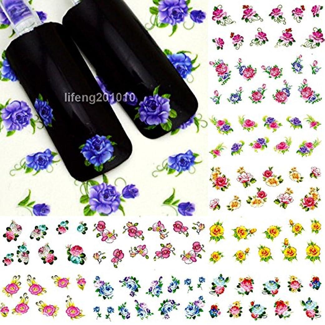 代表団種アフリカ人Ithern(TM)美容水の転送ネイルステッカーネイルアートのヒントデコレーションマニキュア用品ツールの花のデザインのために37から48をデカール12枚