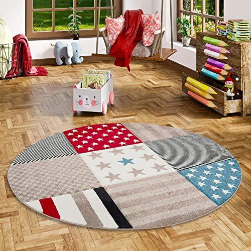 Maui Kinder und Jugend Teppich Sterne Rot Blau Rund in 3 Größen