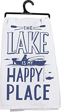 Primitives by Kathy 35518 LOL Dish Towel, 28-Inch Square, The Lake is My Happy Place
