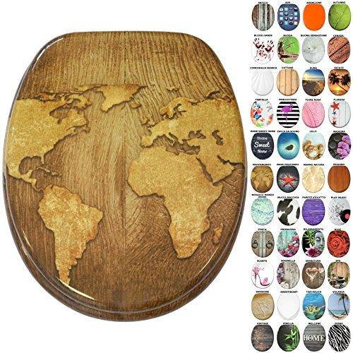 Sedile WC, grande scelta di belli sedili WC da legno robusto e di alta qualità (Mappamondo)