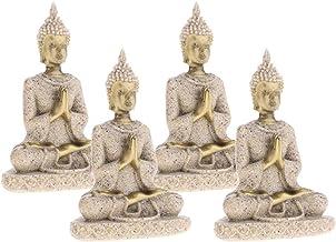 Blesiya 4 Pcs Asian Chinese Buddha Statue Golden Crafts Home Car Decoration 8cm Tall