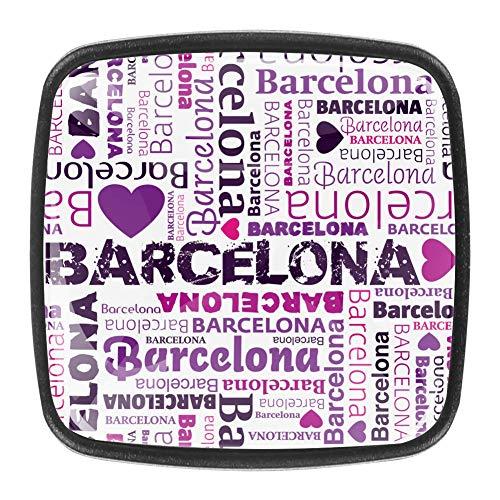 Tiradores cuadrados para puerta de armario, con cita Barcelona, para armarios de cocina, dormitorio, aparador, cuarto de baño, 4 unidades