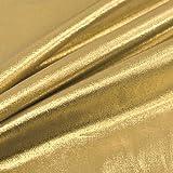 Trikotstoff, Metallic glänzend, Goldlamé, 114 cm breit,