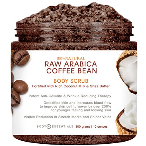 Body Essentials Arabica Coffee & Coconut Milk Scrub - 100% Natural Ingredients - Cellulite and Wrinkle Reduction – Stretch Marks – Spider Veins – Essential Oils - Shea Butter – Vitamin E