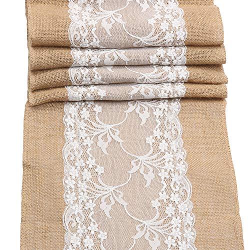 Camino de mesa de arpillera de encaje y arpillera rollos de tela para decoración rústica de boda, fiesta, comedor y manualidades (30 cm x 108 cm)